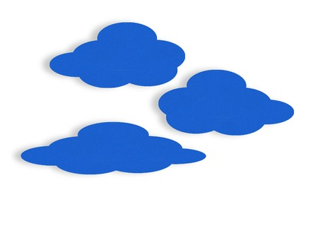 remote backup service: Blue velvet paper clouds on white. Cloud computing concept.