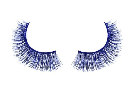 false eyelash: Blue false eyelash isolated on white background