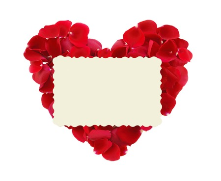 gift card: beautiful heart of red rose petals and greeting card isolated on white