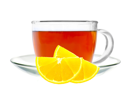 cup of tea: Glass cup tea and lemon isolated on a white background