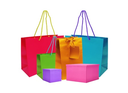 gift bags: color gift bags and boxes isolated on white background