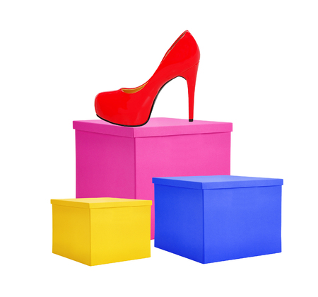 shoe boxes: Paper color gift boxes and red shoe isolated on white background