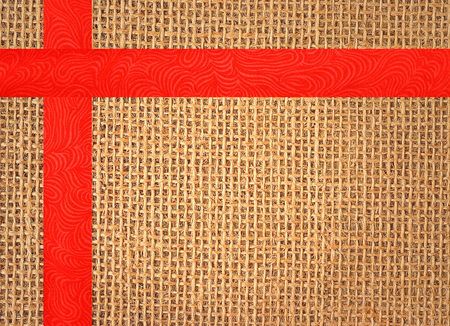 fibra: Linen texture background with red ribbon