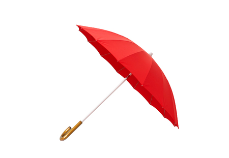 red umbrella: Opened red umbrella isolated on white background