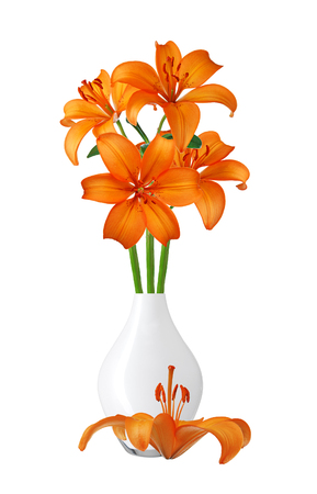 orange lily: Orange lily in white vase isolated on white Stock Photo