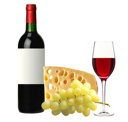 cheeseboard: bottle of red wine, tasty cheese and grape isolated on white background Stock Photo