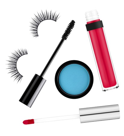 fake eyelashes: Cosmetics set isolated on white background Stock Photo