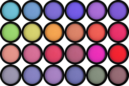 strewed: colorful eyeshadows in black boxes isolated on white Stock Photo