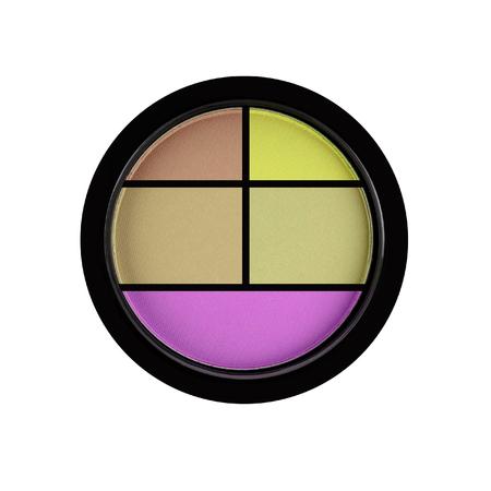 shadow box: Set of 5 multicolored eye shadows isolated on white isolated on white background