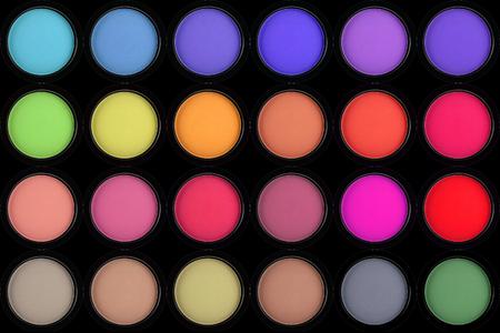 strewed: colorful eyeshadows in black boxes on black