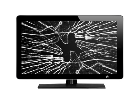 Modern TV with broken screen isolated on white background