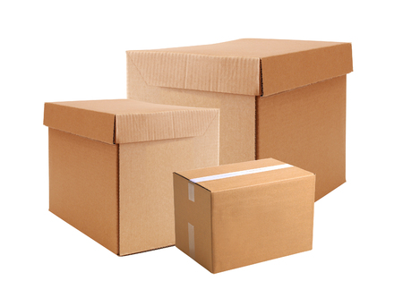 delivering: Cardboard boxes isolated on white background Stock Photo