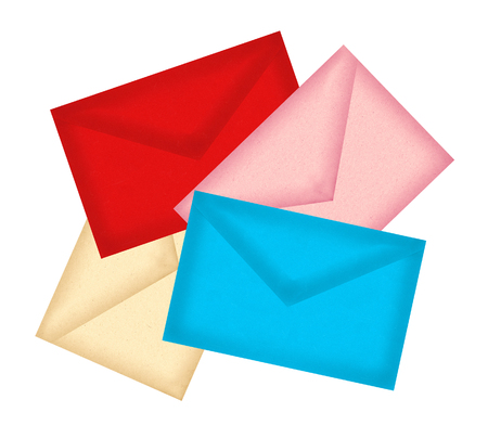 enveloped: Color letters envelopes isolated on white background