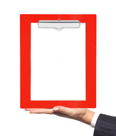 bureaucratic: Clipboard with blank paper in woman hand isolated on white background
