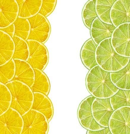 lemon slices: fresh juicy lemon and lime slices on white background Stock Photo