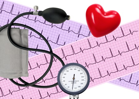 blood pressure bulb: Heart analysis, electrocardiogram graph and blood pressure meter