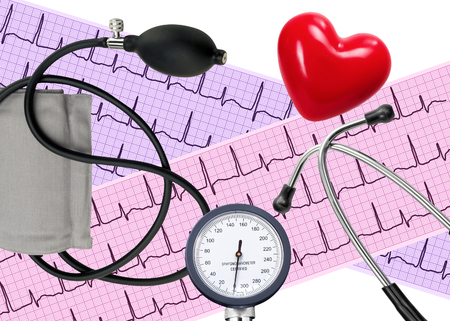 medicine background: Heart analysis, electrocardiogram graph, stethoscope, heart and blood pressure meter
