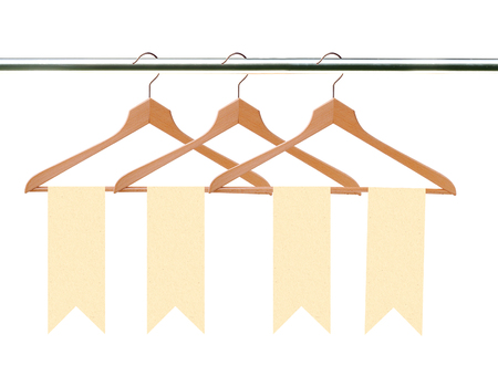 closet rod: wooden clothes hangers with tags (labels) isolated on white