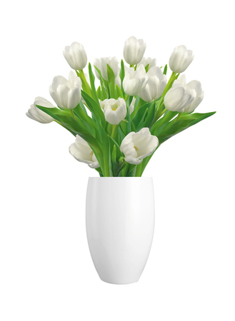 Bouquet of white tulips in vase isolated on white background