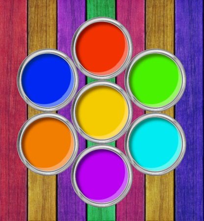 tin cans: open tin cans with paint on the painted wooden background Stock Photo