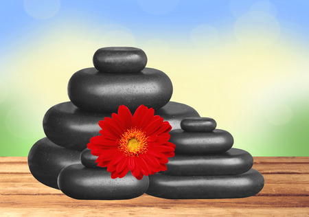 red stone: Black spa stones and red gerbera flower on wooden table over bright nature background