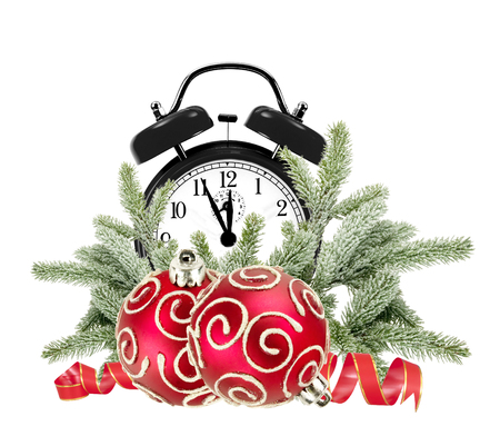 bushy: Green Christmas tree, decorations and alarm clock isolated on white background
