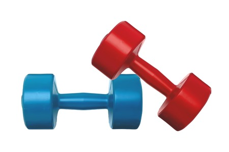 dumbbell: blue and red dumbbells fitness isolated on white