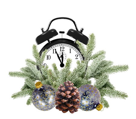 bushy plant: Green Christmas tree, decoration balls and alarm clock isolated on white