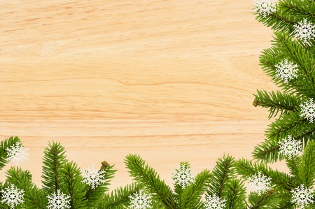 woody: Vintage christmas background - old wood board with green christmas tree branch