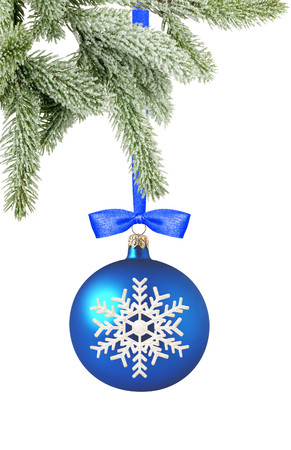 blue ball: Christmas blue ball and tree branch isolated over white background Stock Photo