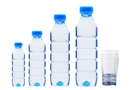plastik: Blue bottles with water and glasses isolated on white background Stock Photo