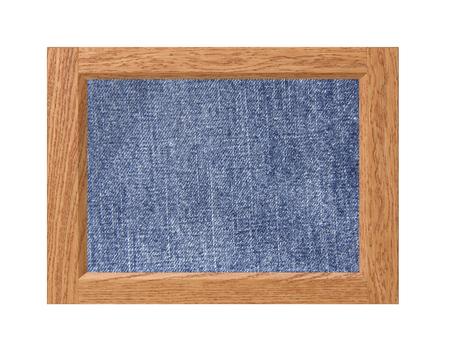 marco madera: Estructura de madera con textura de jeans aislado en el fondo blanco