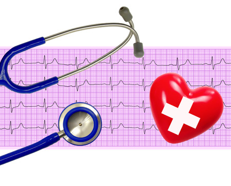 ecg heart: Heart analysis, electrocardiogram graph (ECG), heart and stethoscope Stock Photo