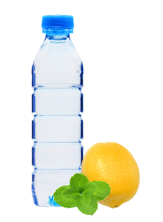 geen: Blue bottle with water, mint herb and fresh yellow lemon isolated on white background