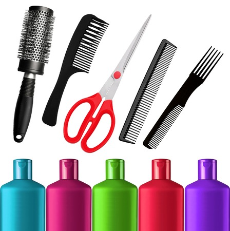shampoo bottles: Shampoo bottles, red scissors and combs isolated on white background Stock Photo