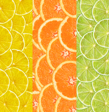 lime slice: Collage with citrus-fruit of lime. lemon and orange slices