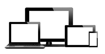 pda: Tablet pc, mobile phone and computer isolated on white background