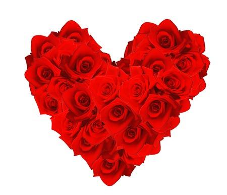 Valentines Day hart gemaakt van rode rozen op een witte achtergrond