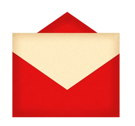 enveloped: Red letter envelope with paper isolated on white background