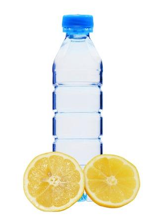 plastik: Blue bottle with water and fresh yellow lemon isolated on white background