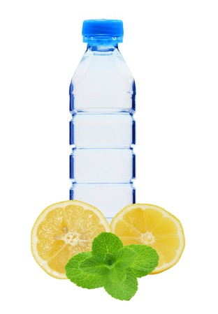Plastik: Blue bottle with water, mint and fresh yellow lemon isolated on white background