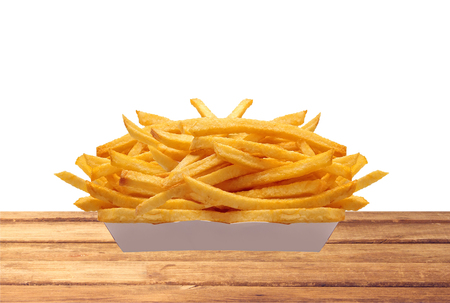 french culture: French fries in white box on table isolated on white background
