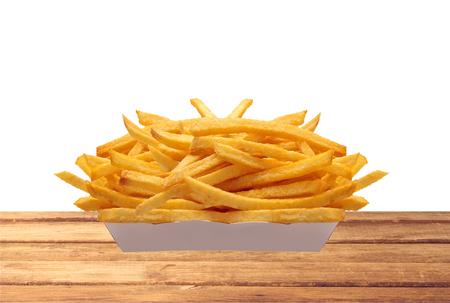 papas fritas: Patatas fritas en caja blanca en el vector aislado en el fondo blanco Foto de archivo