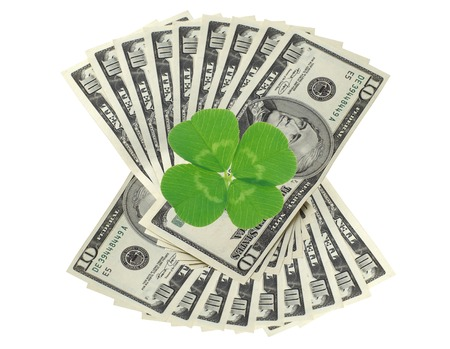 quarterfoil: Clover leaf and dollars on white surface background