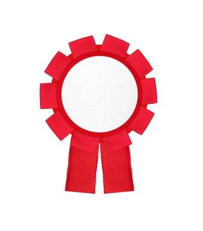 real trophy: red award winning ribbon rosette isolated on white background Stock Photo