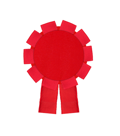 hallmark: red award winning ribbon rosette isolated on white background Stock Photo