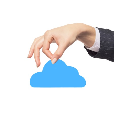 remote backup service: hands holding paper clouds on white background. Cloud computing concept.