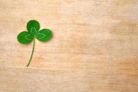 fourleafed: Green Clover Leaf On Wood Board (Deck)
