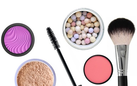 corpuscle: Many Different Cosmetics And Makeup Brushes, Top View