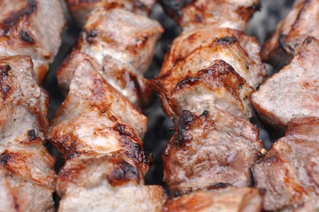 kebob: Roasted Barbecue Beef Meat Kebabs on Grill